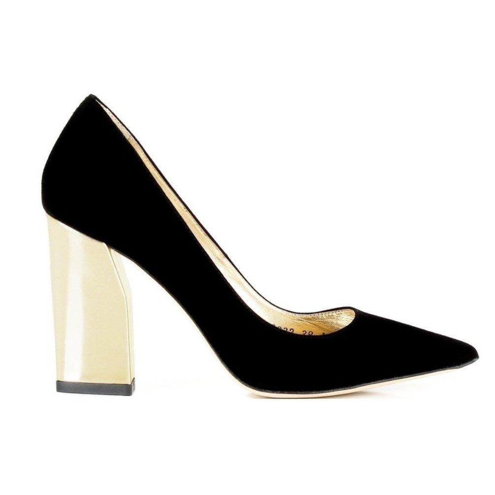 Elegante Pumps Damenschuhe schwarz Gold Leder Modell D00832 Venedig