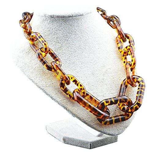 """CarolBella Statement Necklace """"Steadfast"""" Graduated Link Spotted-Leopard Chain"""
