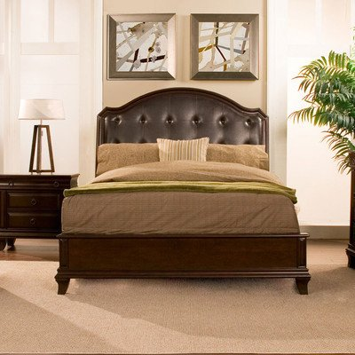 Queen Leather Sleigh - Alpine Furniture Beaumont Sleigh Bed, Queen Size
