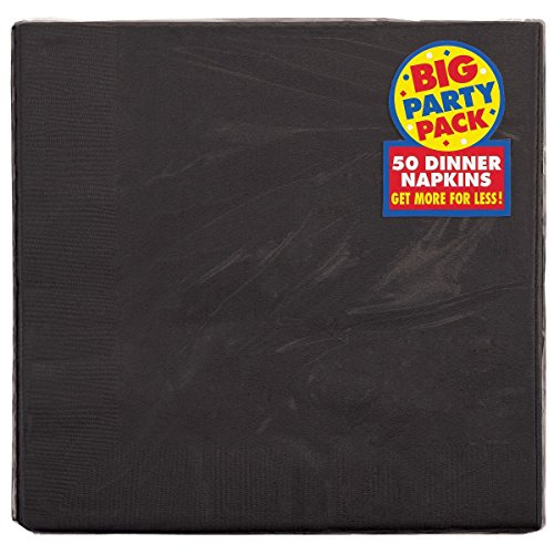 Amscan Big Party Pack 2-Ply Dinner Napkins | Jet Black | Pack of 50 | Party Supply ()