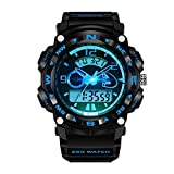 Mens Boys Watches Black Analogue Digital Sport Waterproof Military Multifunction Watch Designer Casual LED Back Light Electronic Shock Resistant Sports Watches for Mens Boys Teenages (Black Blue)