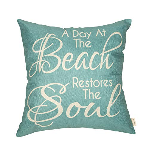 Fahrendom Summer Farmhouse Rustic Home Décor Nautical Beach Coastal Sign Decorative Throw Pillow Cover A Day at The Beach Restores The Soul Decoration Cotton Linen Cushion Case, Sofa Couch 18 x 18 in