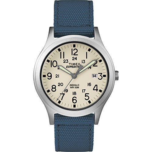 Timex Unisex TW4B13800 Expedition Scout 36mm Blue/Natural Nylon Strap Watch (Womens Large Faced Watches)