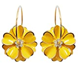Navachi 18k Gold Plated Yellow Enamel Flower Crystal Az2817e Hoop Earrings(dia. 3cm)