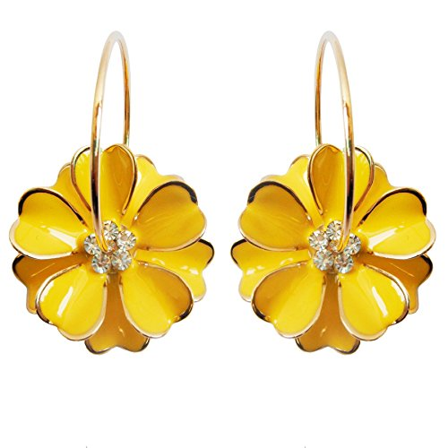 (Navachi 18k Gold Plated Yellow Enamel Flower Crystal Az2817e Hoop Earrings(Dia.)