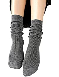 Women Solid Color Lightweight Casual Cotton Slouch Socks Calf High