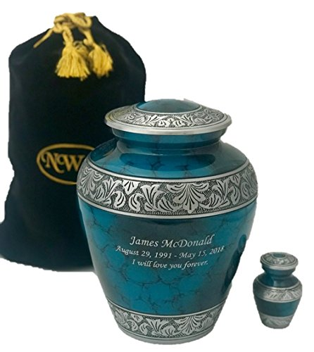 Custom Cremation Urn, Adult Human Memorial Urn with Personalization, Keepsake and Velvet Bag