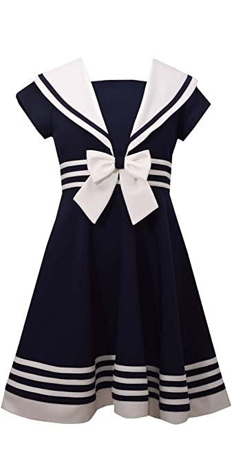 Vintage Style Children's Clothing: Girls, Boys, Baby, Toddler Bonnie Jean Girls Fit and Flare Nautical Dress $19.50 AT vintagedancer.com