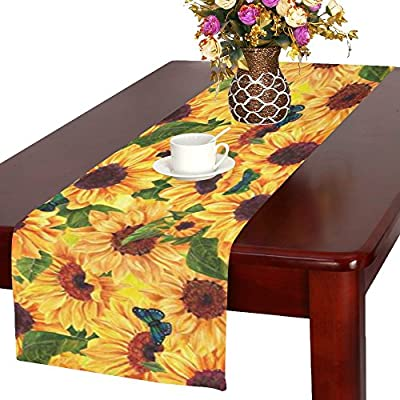 InterestPrint Sunflower Floral Fabric Table Runner Placemat 16 x 72 inch, Summer Flower Butterfly Table Cloth for Office Kitchen Dining Wedding Party Home Decor…