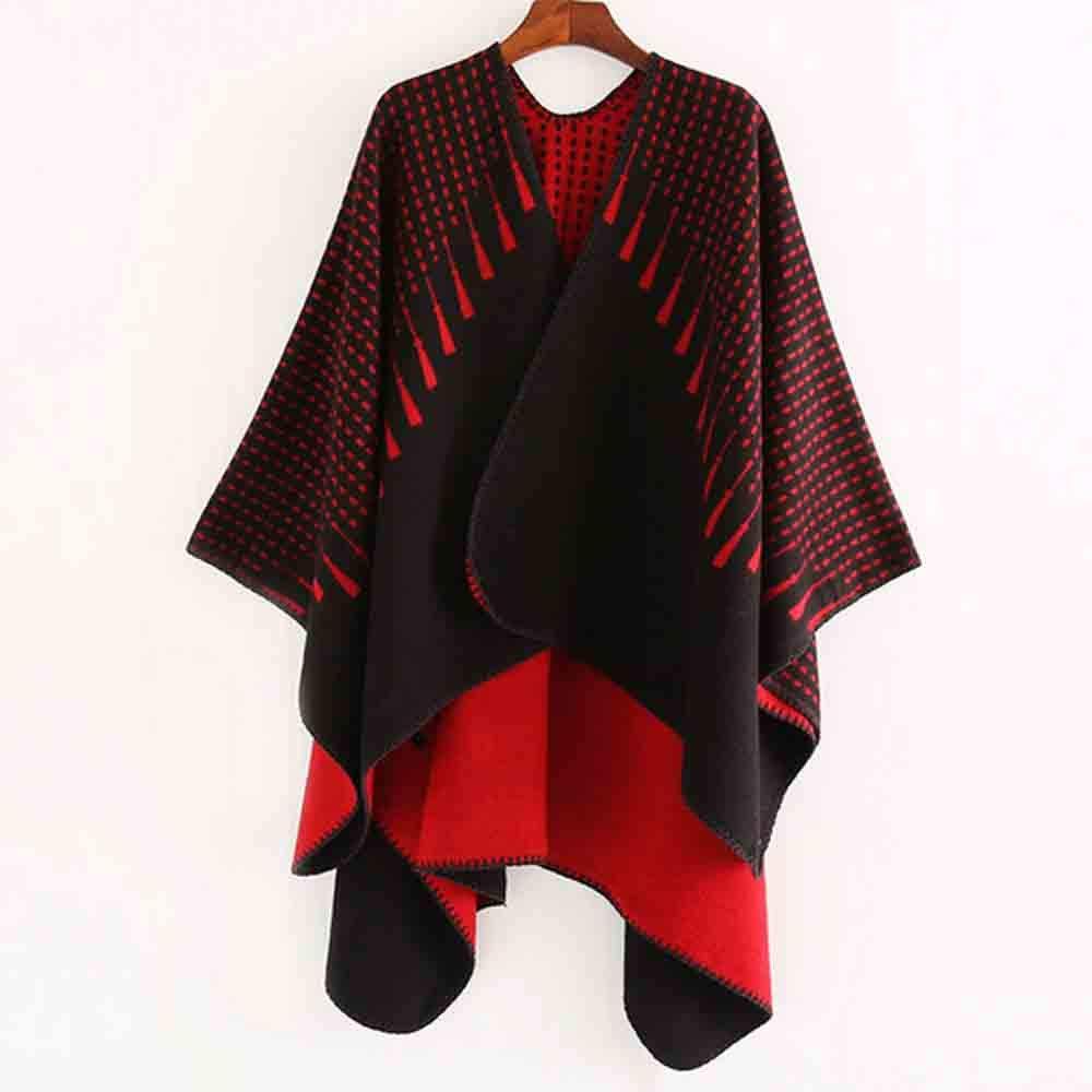 Venmo Frau Gestrickte Gestreifte Poncho Kapuzen Cape Fransen Strickjacke  Mantel Pullover Outwear Damen Winter Warm Outwear 681caad098