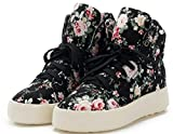 Canvas Shoes for Women Platform, Floral Lace up High Top Cute Sneakers (7, Black)