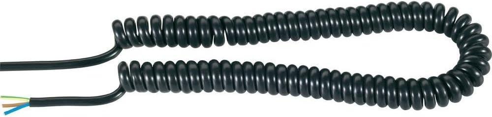 C/âble spiral/é Baude H05VVH8-F 37523P 1000 mm s 3000 mm 3 x 0.75 mm/² Noir 1 pc