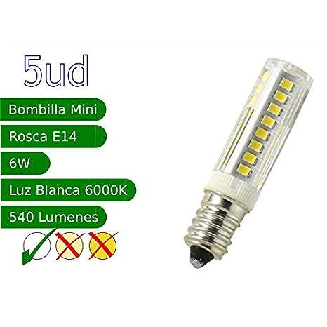 5 x Bombilla LED E14 miniatura 6W blanco 6000ºK frio - Jandei: Amazon.es: Iluminación