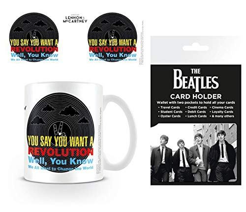 1art1 Set: The Beatles, Lyrics by Lennon & McCartney, Revolution Photo Coffee Mug (4x3 inches) and 1 The Beatles, Credit Card Holder Wallet for Fans Collectible (4x3 inches) ()