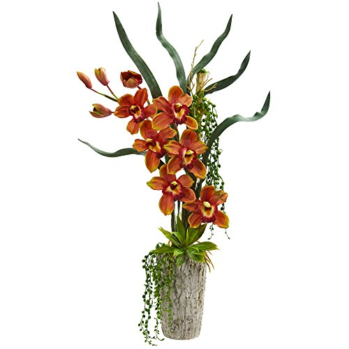 - Nearly Natural 1619-BG Cymbidium Orchid Artificial Planter Silk Arrangements, Burgundy