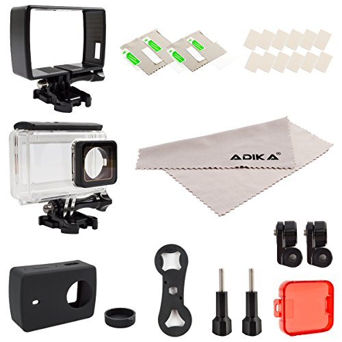 ADIKA Sport Accessories Kit for Yi 4K Inclueds Waterproof Housing with Touch Screen for Yi 4K + Plastic Standard Frame for Xiaomi Yi 2 + Silicone Protective Case + Camera Protector Film + Red Filter