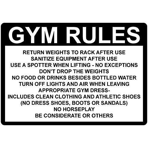 Funny Halloween Safety Rules (Metal Sign 8x12 Inches Gym Rules Return Weights Rack After Use Sanitize Funny Metal Warning Signs for Home Decor Safety Yard Sign for)