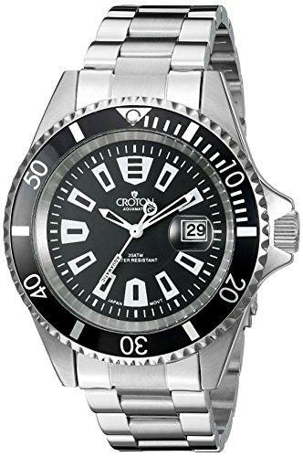 Croton Mens Quartz Watch - CROTON Men's CA301282BKBK Analog Display Quartz Silver Watch