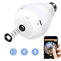 TOOGE Bulb Camera, 360°Panoramic Fisheye Wifi Home Security System with 960P HD Motion Detection and Dimmable, Remoted by iPhone/Android Phone/ iPad