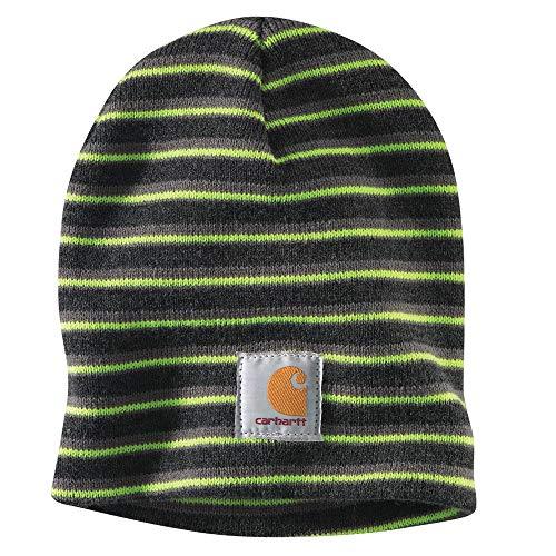 Carhartt Men's A205 Acrylic Beanie Cap - One Size Fits All - Coal Heather/Balsam Green/Brite Lime Stripe