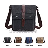Queenie - Vintage Satchel Unisex Canvas Bag Cross Body Backpack Sling Rucksack Shoulder Bag Tote for Gym Travel Work (8167 Black)