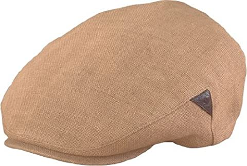 Henschel Ivy League - Handmade Linen with leather inserts (XL, Beige) - Henschel Handmade Hat
