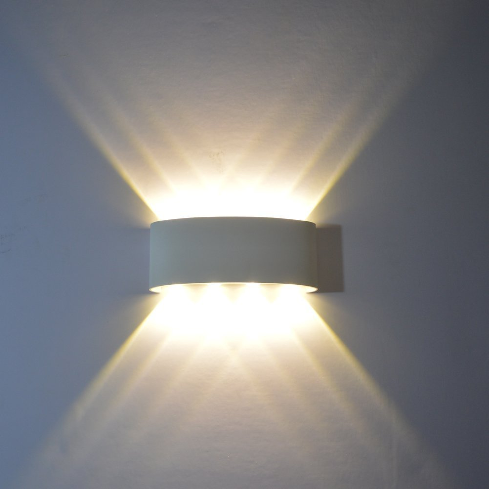 Wall Sconce,Modern 8W Aluminum Waterproof LED Up Down Wall Light Lighting Spotlight Aluminum Fixture Decorative Lights Wall Lamp AC85-265V(White, Warm White)