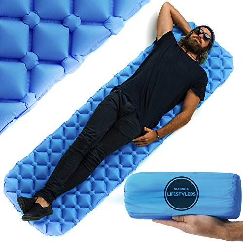 Ultimate Lifestylers - Ultra-lightweight Sleeping Pad, Compact for Backpacking, Camping, Travel, Super Comfortable Inflatable Air-Support Cells Design (Ultra Light Camping Pad)