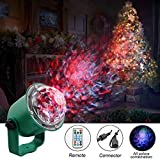 Urijk Water Wave Garden Tree Light Flame Fire LED Projector, RGBW 14 Color Modes Outdoor Light Projector Waterproof with Remote Christmas Halloween Festival Decorations for Home, Landscape, Party