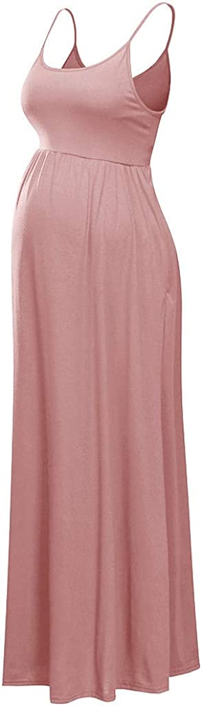 NDGDA Womens Sling Dress Maternity Vacation Dress Ladies Pregnant Sleeveless Dress