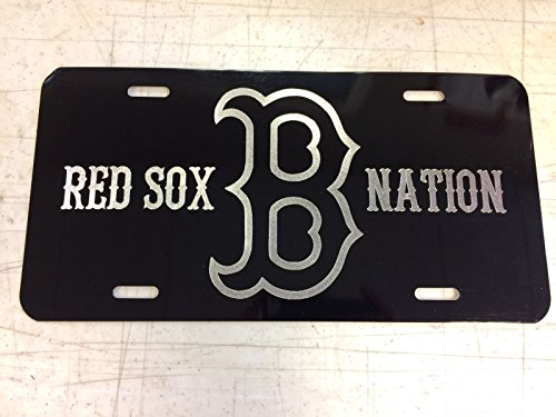 Diamond Etched Boston Red Sox Nation Car Tag on Aluminum License Plate from Diamond Etched