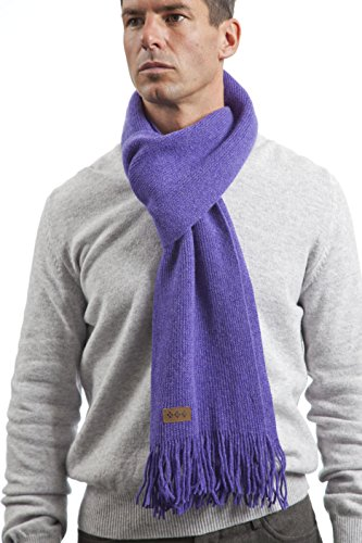 Men's and Ladies' Hawick Knitwear Lambswool Plain Fringed Scarf-Heliotrope-One (Plain Lambswool)