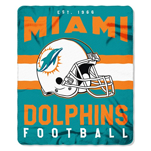 The Northwest Company NFL Miami Dolphins Singular Fleece Throw, 50-inch by 60-inch, Green -