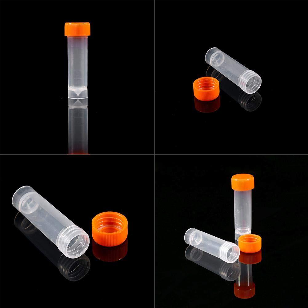 Akozon Reagenzgl/äser 5 ml 10 St/ück Labor wissenschaftliche Forschung Schulen Reagenzgl/äser aus Kunststoff Durchstechflasche Schraubverschluss mit Silikondichtung