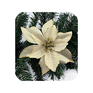 meiguiyuan 8Pcs New 13cm Christmas Artificial Flowers Gold Side Xmas Tree Decorations Wedding Party Decor Ornaments 111