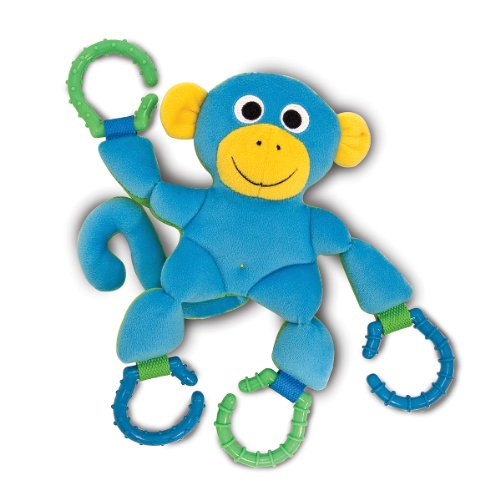 Melissa & Doug Linking Monkey Grasping Toy for Baby - Teething Rings Hook Onto Stroller