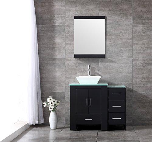 Sliverylake 36 Inch Bathroom Vanity and Sink Combo MDF Wood Cabinet Ceramic Vessel Sink (Black&Scaliform)