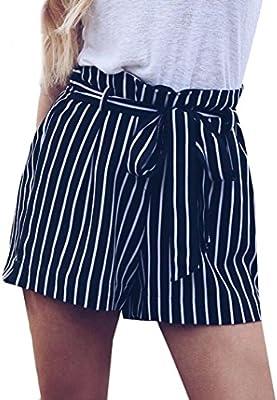 56e064000b5 Amlaiworld Pantalones cortos Mujer de Verano Pantalones corto elástico con  estampado a rayas de mujer Pantalón de playa Mallas leggins mujer fitness  chandal ...
