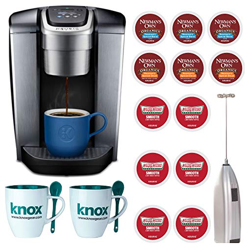 Keurig K-Elite Single Serve K-Cup Pod Coffee Maker 12oz Brew Size, Programmable, Brushed Slate Includes Hand Held Milk Frother, 12 K-Cups and 2 Mugs