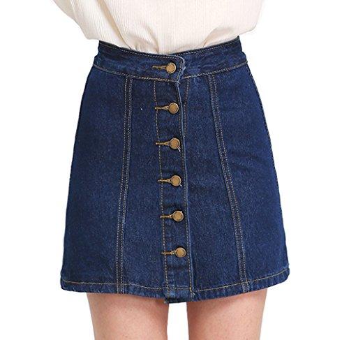 (SheIn Women's Button Front Denim A-Line Short Skirt - Dark Blue X-Large)