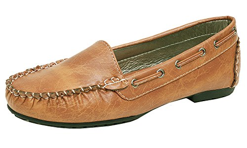 Spicy Women's F592 Laced Non-Skid Slip-On Boat Moccasin Driving Loafer (10 B(M) US, Tan)