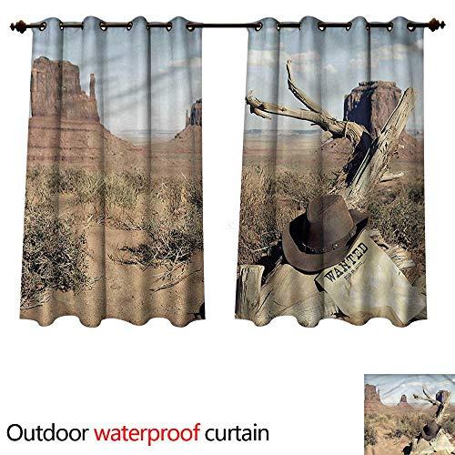 cobeDecor Western Outdoor Curtain for Patio Cowboy Hat on Dried Tree W84 x L72(214cm x 183cm) ()