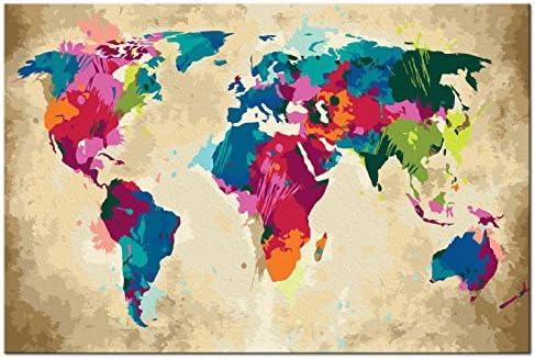 murando Pintura por Números Cuadros de Colorear por Números Kit para Pintar en Lienzo con Marco DIY Bricolaje Adultos Niños Decoracion de Pared Regalos - Mapamundi 60x40 cm DIY n-A-0275-d-a: Amazon.es: Juguetes