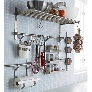 Ikea Stainless Steel Kitchen Organizer Set, 15.75 Inch Rail, 5 Hooks, Silver