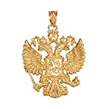 14k Yellow Gold Russian Coat of Arms Double-Headed Eagle Slavic Crest Pendant