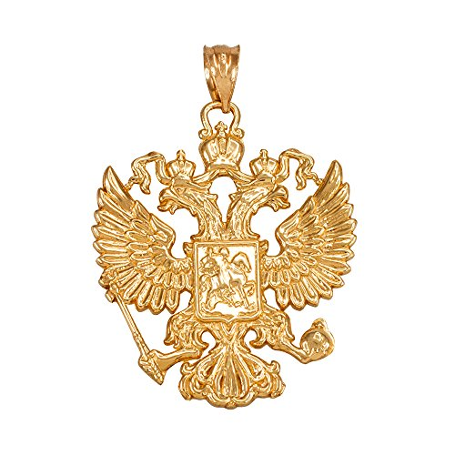10k Yellow Gold Russian Coat of Arms Double-Headed Eagle Slavic Crest - Eagle 10k Pendant Gold
