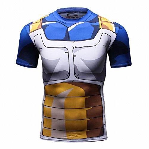 Red Plume Men's 3D Compression Shirt Skin Tight Anime Printing Short Sleeve