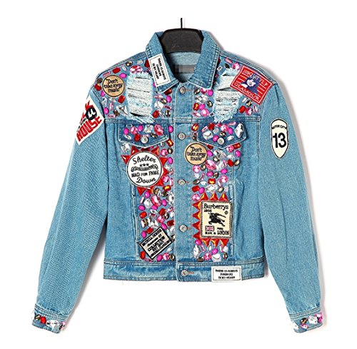Flowertree Women's Hip Hop Diamond Beaded Distressed Blue Denim Jacket (M) by flowertree