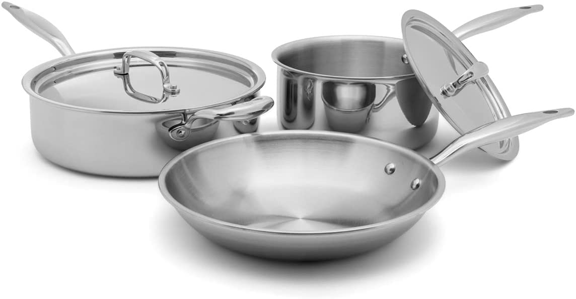 Heritage Steel 5 Piece Essentials Cookware Set - Titanium Strengthened 316TI Stainless Steel With 5-Ply Construction