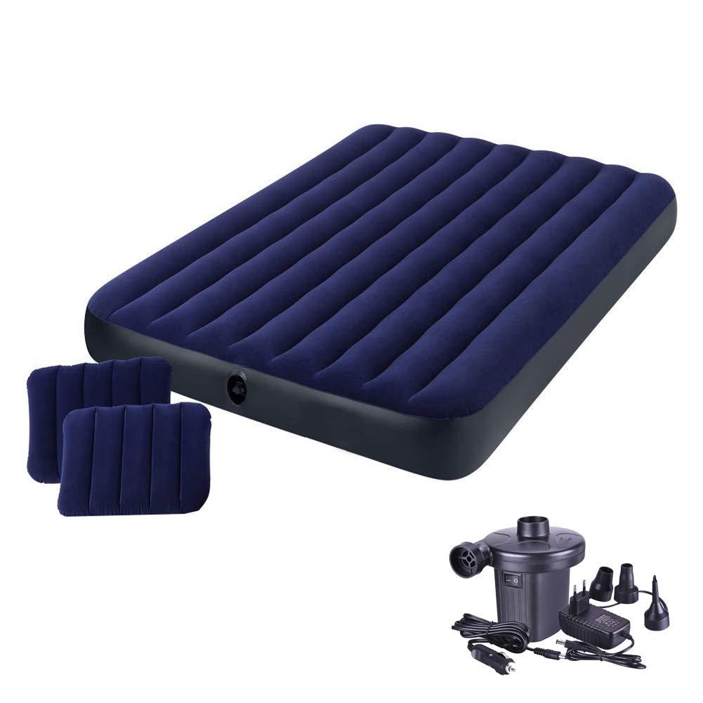 DMGF Twin Größe Luftmatratze Set Mit 2 Kissen Und Elektrischer Pumpe, Wasserdichte Beflockung Aufblasbare Luftmatratze, Marineblau 80 X 72 X 8.6 Zoll